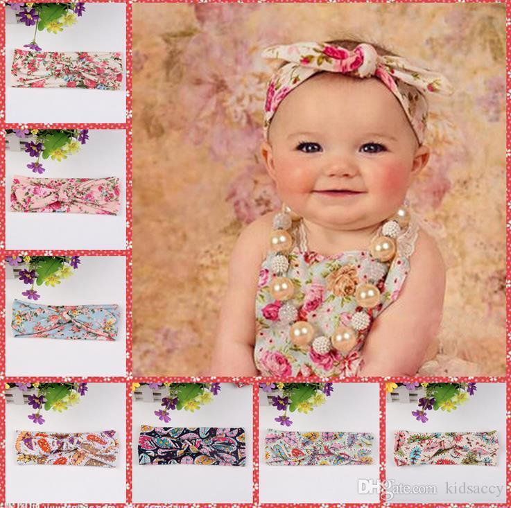 Девушки Галстуки Чехи Florals печатающая головка диапазона волос Baby Girl Милые уши кролика Детские аксессуары для волос Лук Упругие Узел Hairbands 8 цветов