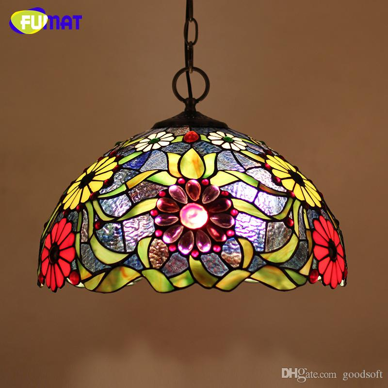 Fumat stained glass tiffany lamp european style art glass flower fumat stained glass tiffany lamp european style art glass flower lampshade pendant lights living room hotel bar kitchen led light fixtures bedroom hanging aloadofball Images