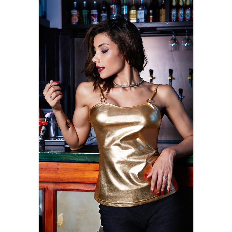 Shiny Metallic Women Camisole Special Ring Design Spaghetti Strap Vest Sexy Ladies Casual ClubTops