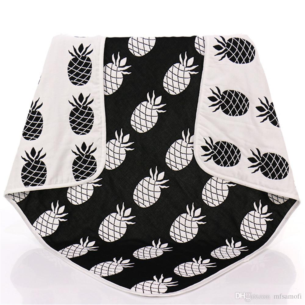 new baby children muslin blankets black white pineapple cross crawling blanket carpet for infant baby bedspread bath towels kids play mats down throws