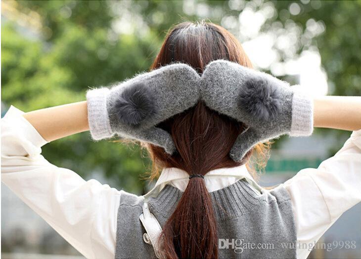 Yün Eldiven Sıcak Ve Yumuşak Kış Bayanlar Eldivenler Katı Renkler Grace Tavşan Kürk Topu Çift Katmanlı Örme Eldiven Maç Renkleri