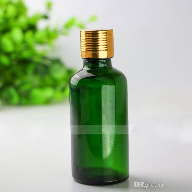 Venta al por mayor 88 * 4 Total de cristal líquido e cuentagotas Botellas de 50 ml botellas de aceite esencial de cristal verdes Más vendido 50ml envase de cristal Paquete