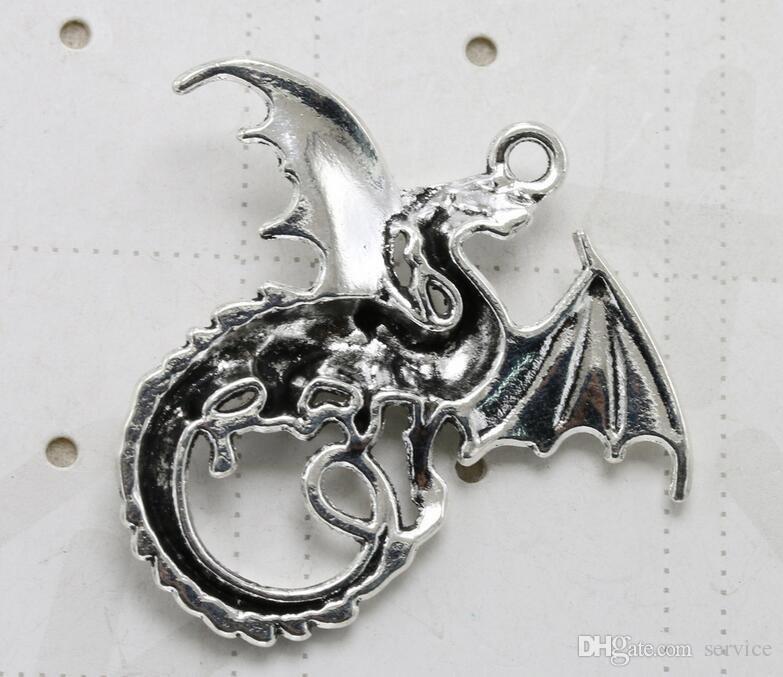 / 43 * 46mm Antique Argent Dragon Charmes Pendentif DIY Résultats de bijoux composants charmes 2017 Vente Chaude