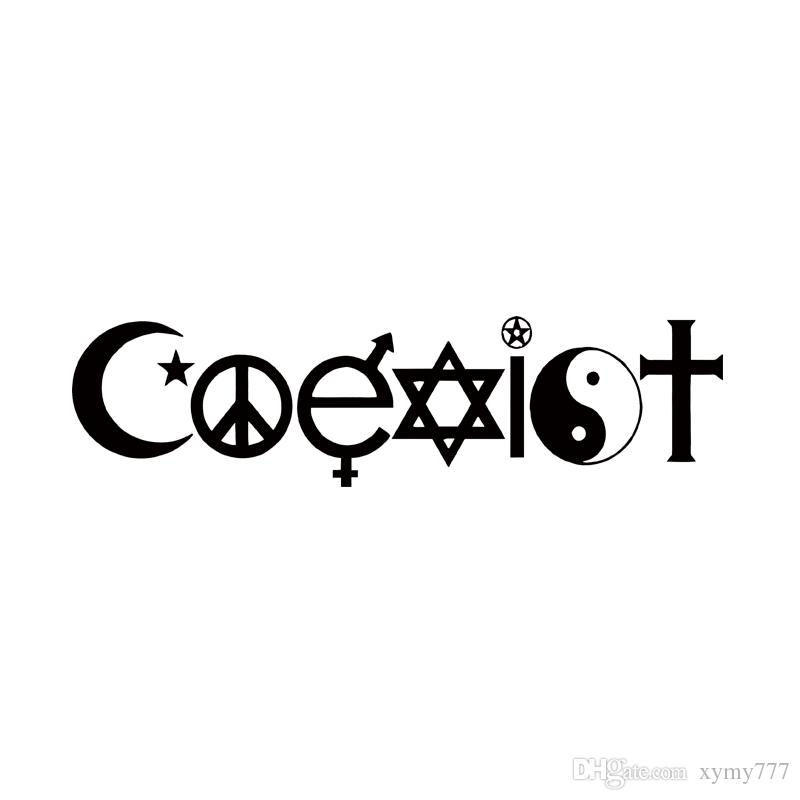 2017 Hot Sale Coexist Vinyl Graphics Decal For Car Truck Bumper Sticker Funny Peace Hippie New Design Jdm