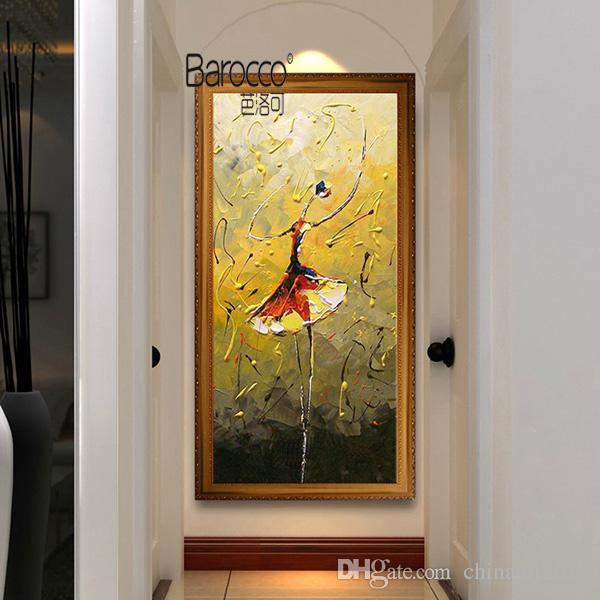 Ballet Dancer Hand Painted Abstract Figures Oil Painting on Canvas Modern Simple Home Wall Art Decoration Paintings No Framed