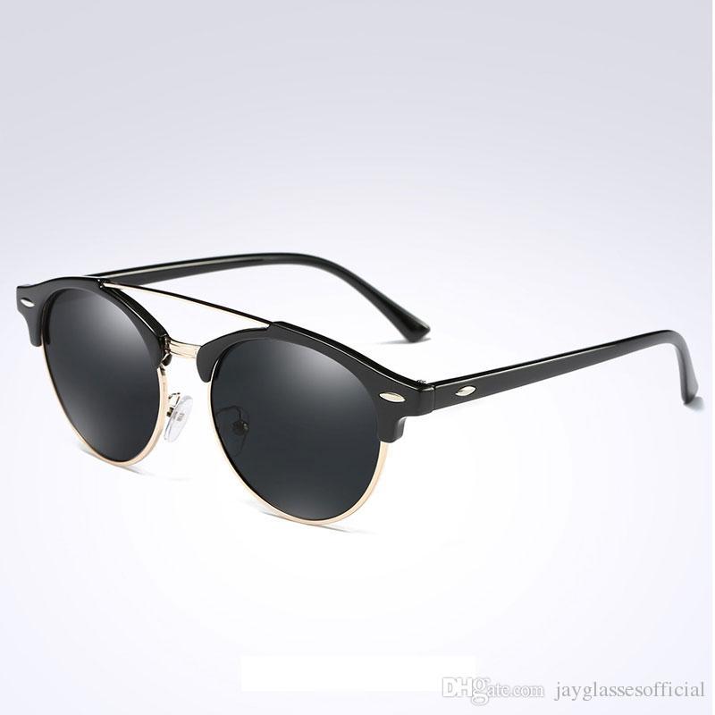 99d47ca14e Fashion Retro Men Sunglasses Women Brand Designer Classic Vintage Rivet  Round Sun Glasses Metal Semi Rimless Gafas Lunettes Round Glasses Designer  Glasses ...