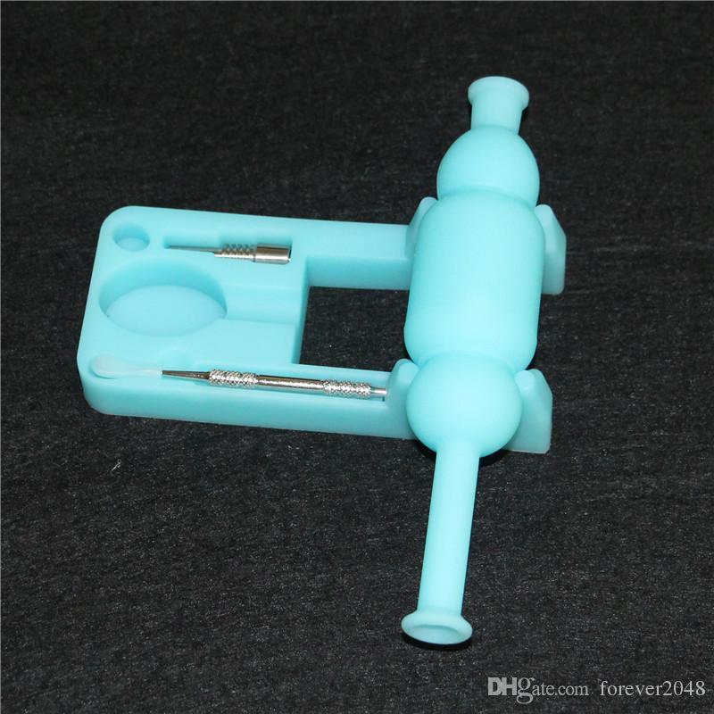 Glow in dark Kit di nettare di silicone luminoso con kit da 10mm maschio chiodo e dabber bong in silicone tubi d'acqua DHL libero