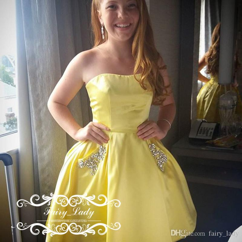 Cheap 2017 Short Yellow Homecoming Dresses With Side Pocket ...