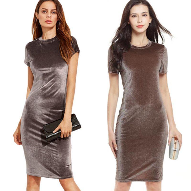 Hot Womens Fashion Short Sleeve Pleuche Pencil Dresses For Ladies Summer Plus  Size O-neck Casual Sheath Slim Dress Drop Shipping Pleuche Dress Pencil  Dress ... f05b7a38fe37