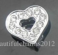 Wholesale 8mm Full Rhinestones Heart Slide letters DIY Charm Accessories fit for 8mm leather wristband bracelet 0004