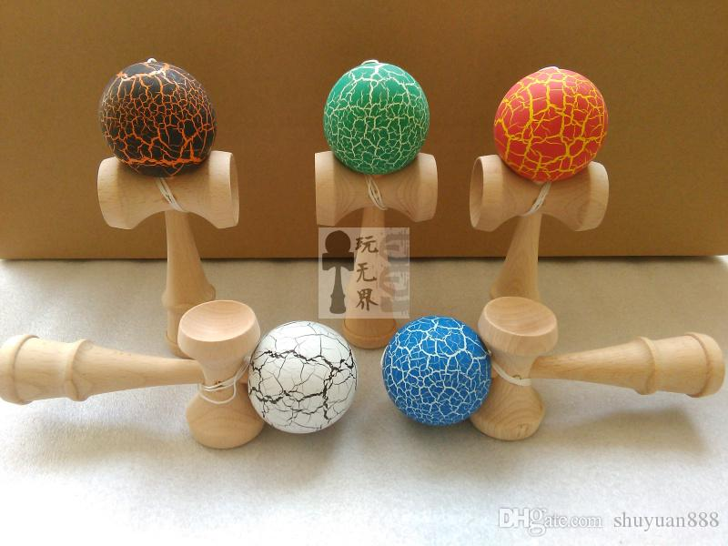 18.5cm high Ball crack Paint Kendama beech wood kendama Ball Skillful Juggling Game Ball Japanese Traditional Toy Ballsgifts Free DHL