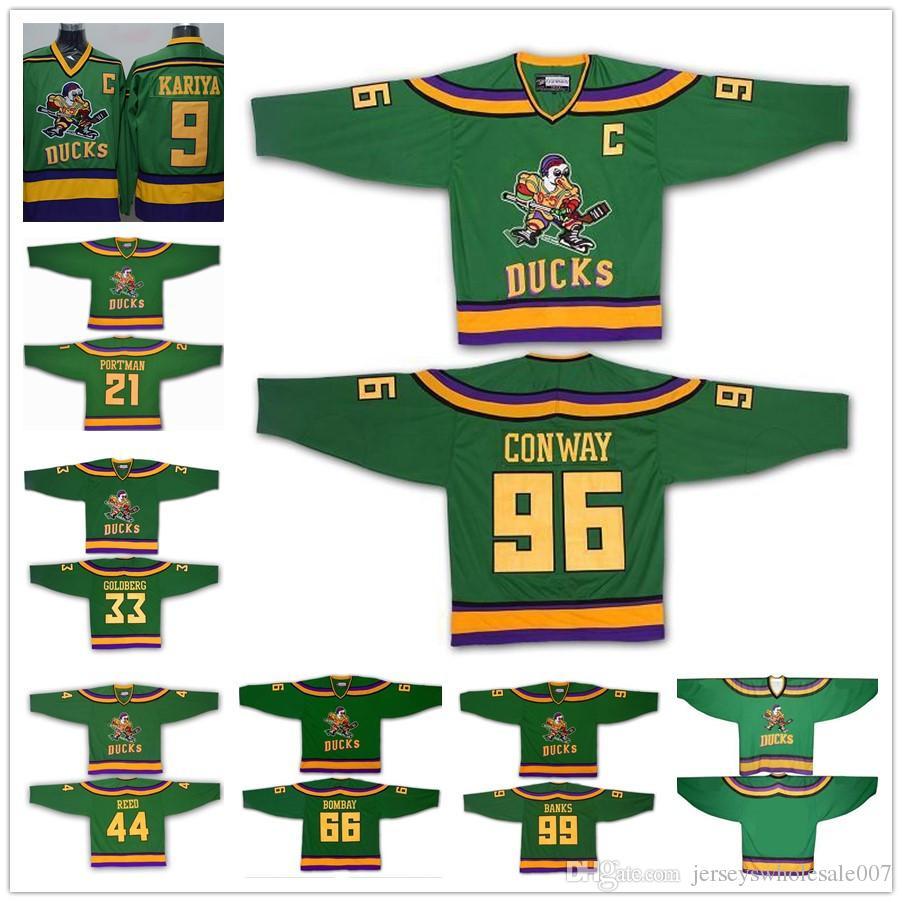 2019 Mighty Ducks 96 Charlie Conway 99 Adam Banks 66 Gordon Bombay Hockey  Jerseys The Mighty Ducks Of Anaheim Men Movie Jersey Green S 3XL From ... 141535d72d0