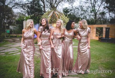 Bling Bling Vestidos de dama de honor brillante Lentejuelas Oro Rosa Nuevas Sirenas Baratas Dos Piezas Vestidos de Prom Backless Country Playa Vestidos de fiesta