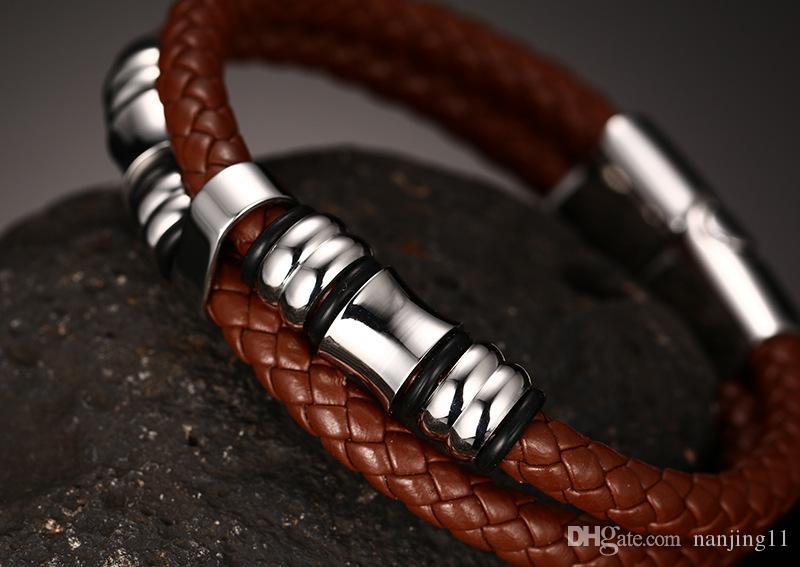 Homens jóias Vintage Leather Bracelet Enrole Banda Duplo corda trançada de aço inoxidável Bangle Brown com 8