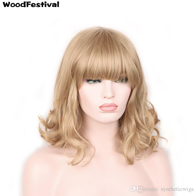 WoodFestival Women Short Blonde Fluffy Fiber Hair Wigs Heat Resistant  Synthetic Fiber Wig Black Light Brown Dark Brown Blond Gorgeous Wigs Black  Lace Front ... 43be85adf562