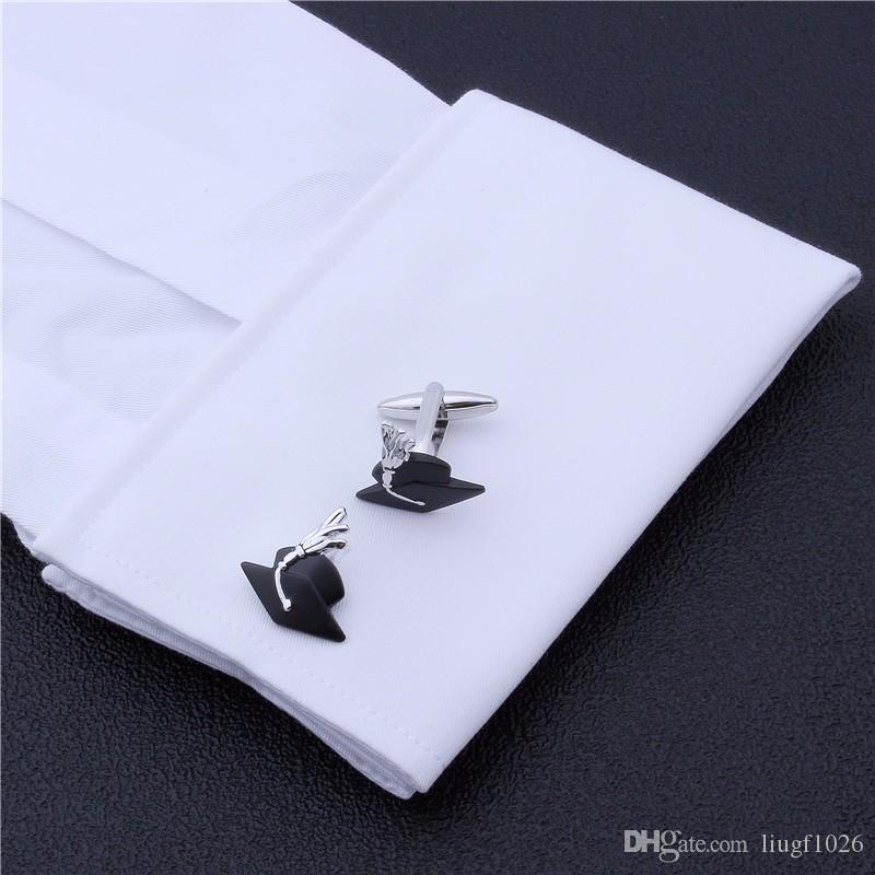 School Graduation Ceremony Student Black Academic Hat Desinger Cufflink Best Academic Gift Dress Shirt Men's Cufflinks