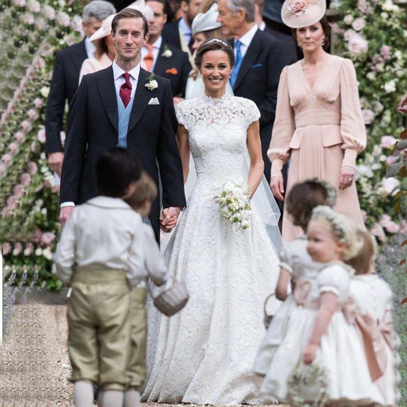 discount vestidos de novia 2017 elegant pippa middleton lace cap