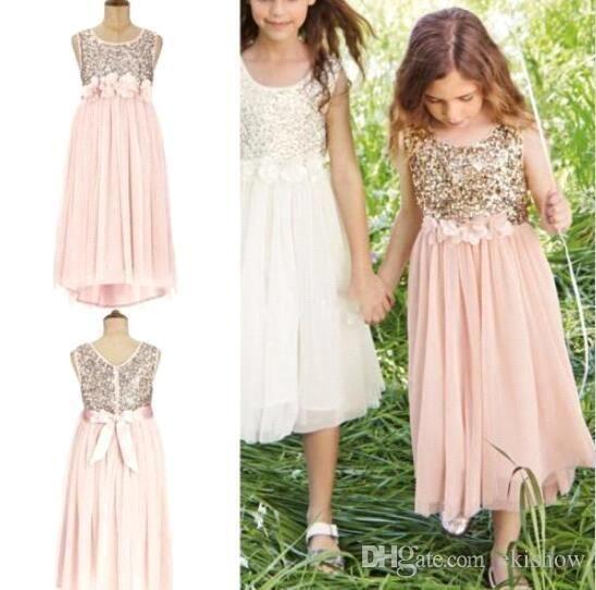 2017 Blush Pink Flower Girls Dresses for Weddings Gold Sequins Tea Length Tulle Jewel A Line Beach Kids Formal Dress Junior Bridesmaid Dress