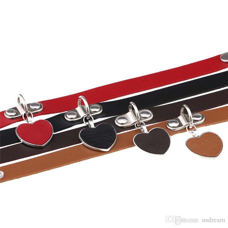 Colar Gargantilha Coração gótico Collar multi couro ajustável Choker colarinho mulheres colares de jóias de moda de rock vontade e areia quente