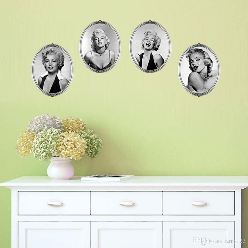 En gros 3D Sexy Marilyn Monroe Décor À La Maison Peintures Murales PVC Amovible Salon Chambre Décorations Stickers Muraux Papier Peint 35.4 * 11.8