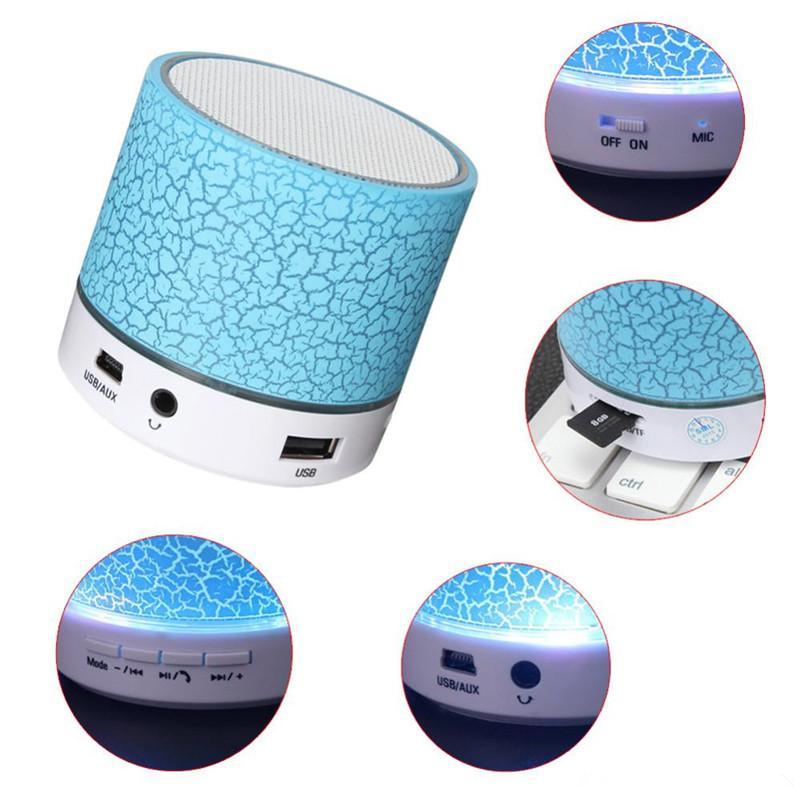 LED Crackle Bluetooth Speaker Mini Speaker Estéreo Sem Fio Bluetooth Suporte Cartão TF, USB, Rádio FM Com MICROFONE Com Caixa de Varejo 6 cor