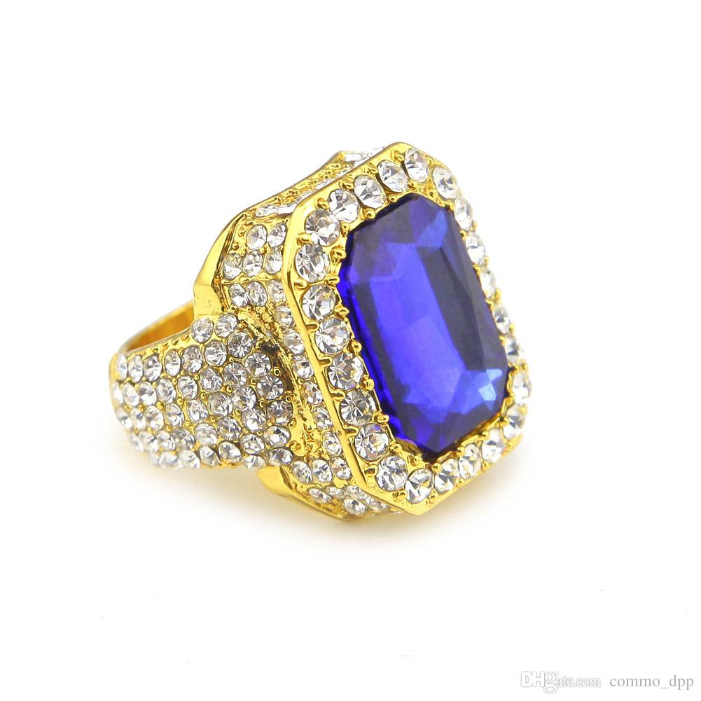 High quality Men's large ruby sapphire Rings White Rhinestones gem stone Gold Rings For women&ladies Hip Hop Jewelry