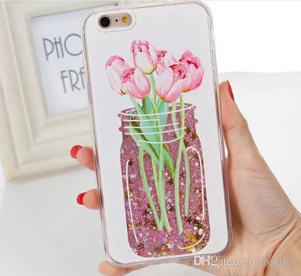 Glitter liquido Quicksand caso ananas tazza bottiglia di profumo fiore cuore sparkle caso Flamingo iphone 7 6 6 s plus 7 placcato copertura placcatura