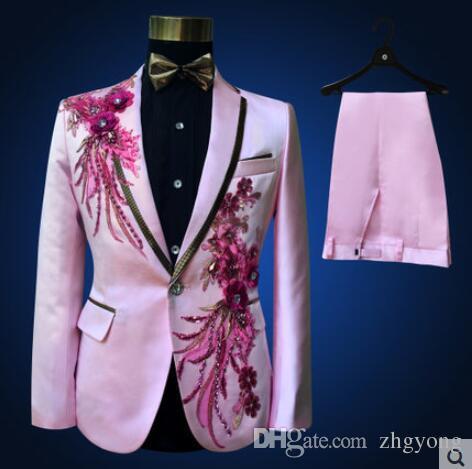 Куртка + брюки + галстук + ремень мода мужчины костюмы жениха свадьба пром сторона красный черный синий тонкие костюмы блейзеры цветка официально платье