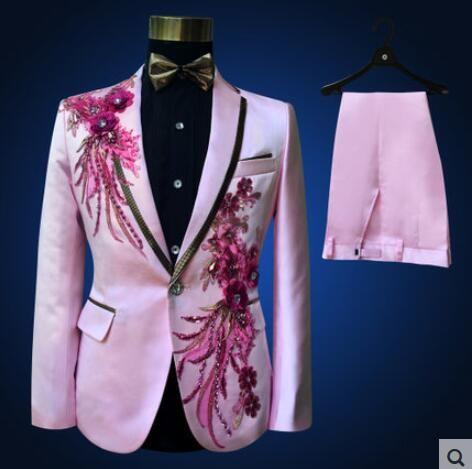 veste + pantalon + nœud papillon + ceinture costumes de mode set marié mariage partie de bal rouge noir bleu slim costumes blazers fleur robe formelle show bar