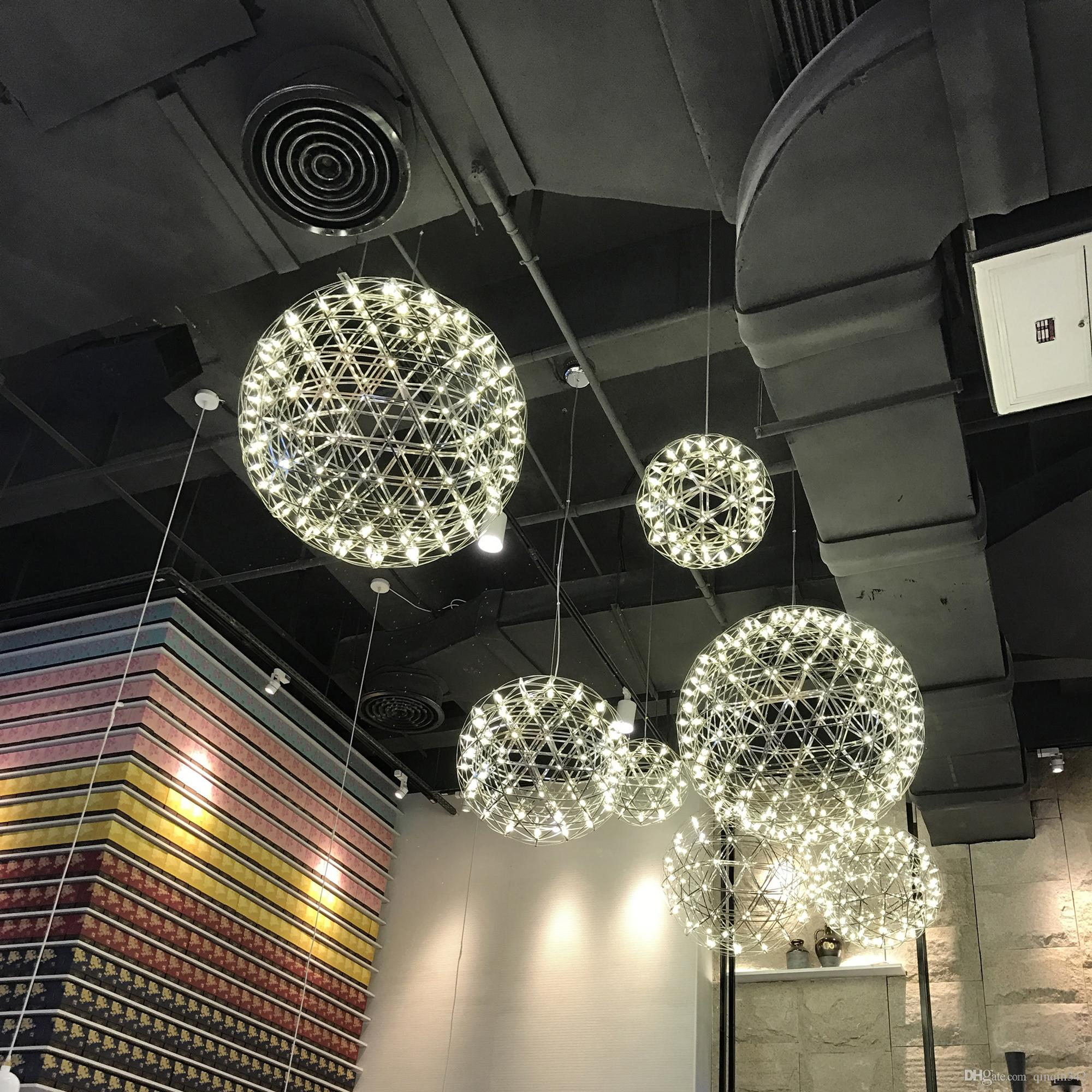 Modern living room pendant light stainless steel ball led firework light restaurant villa hotel project lighting modern pendant drop ceiling light fixtures