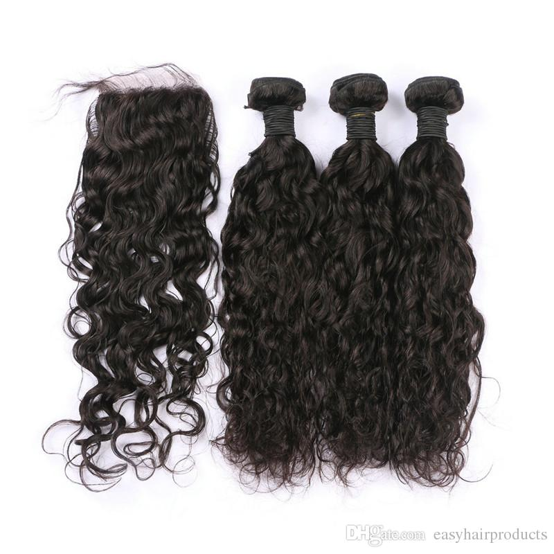 Wet And Wavy Indian Virgin Hair Weaves With Silk Base Closure Unprocessed Human Hair 4x4 Bleached Knots Free Part Closures