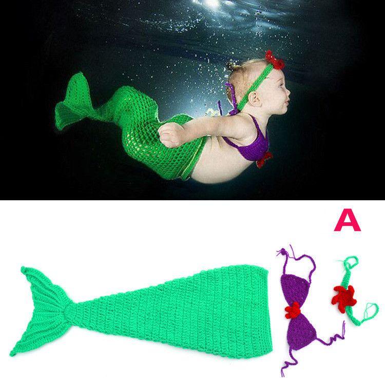 Puntelli fotografia new born baby Costume Mermaid Infant baby puntelli foto Knitting fotografia accessori abiti crochet neonati IB197