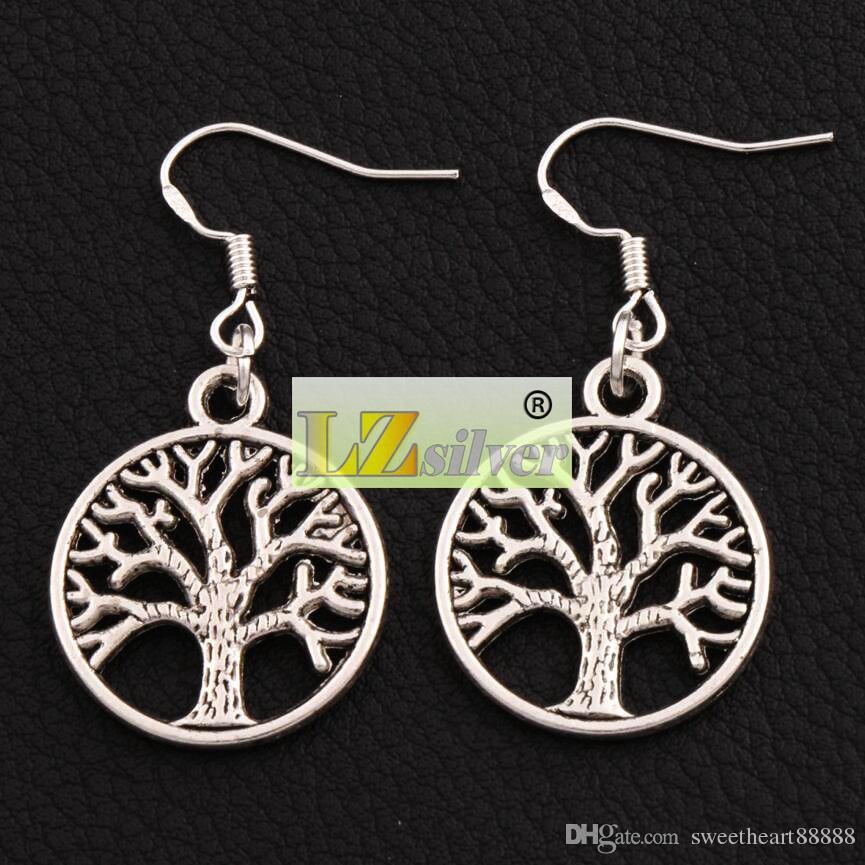 Árvore De Vida Brincos 925 Gancho Da Orelha De Peixe De Prata 40 pares / lote de Prata Antigo Lustre E463 20x40mm