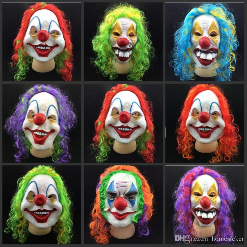 scary clown mask adult halloween evil killer fancy dress horror jolly latex hair full face masks party costume cosplay accessory clown mask mask halloween