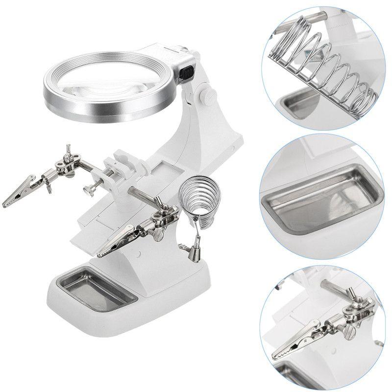 3x 4.5x LED Yardım El Büyüteç Lehimleme Demir Standı Lens Büyüteç Kelepçe İzle Onarım Aracı Lehimleme Demir Gun Standı