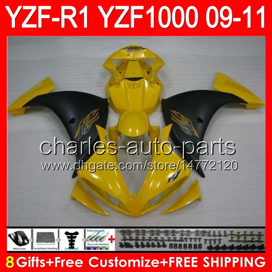 8gifts Body For YAMAHA YZFR1 09 10 11 YZF-R1 09-11 gloss yellow 95NO98 YZF 1000 YZF R 1 YZF1000 YZF R1 2009 2010 2011 yellow black Fairing