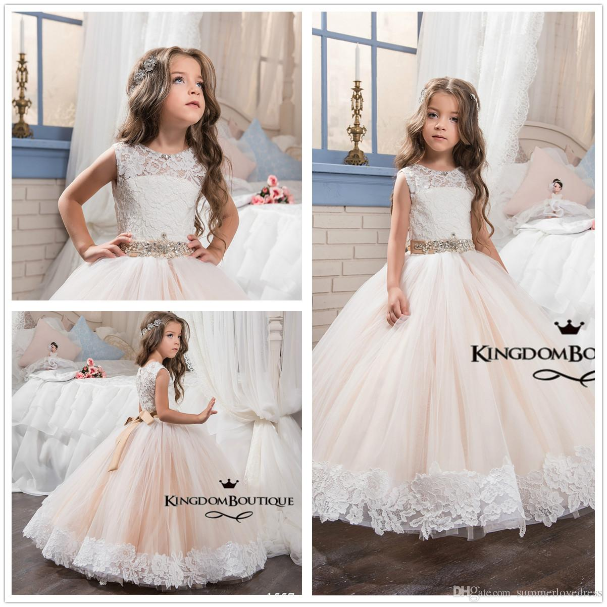 New Cute Crew Neck Lace Ball Gown Flower Girl\' Dresses Tulle ...