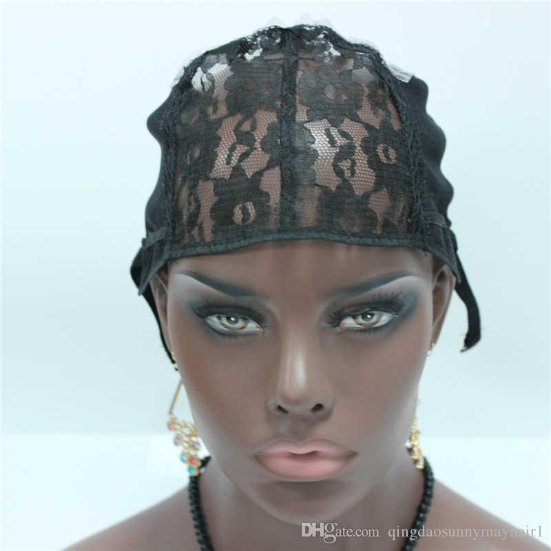 Capuchon de tissage / Fabriqué à la machine de taille moyenne noire casquettes de perruque de couleur pour faire des perruques de tissage avec la courroie réglable sur le dos