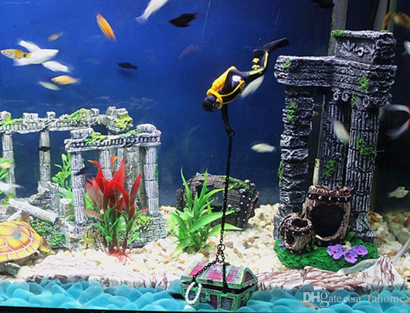 Sea-Treasure Action Aquarium Ornament See See Sea World Secret Driver حوض للأسماك والديكورات والمناظر الطبيعية الديكورات المنزلية برتقالي أسود