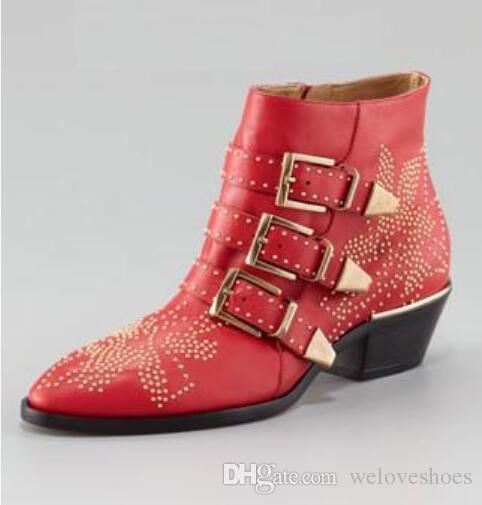2017 новый бархат сапоги бисером лодыжки пинетки точка toe пинетки платье обувь вино красный кожаные сапоги пряжки бота низкий каблук