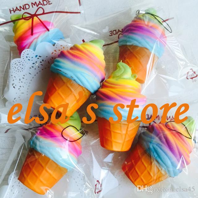 squishy wholesale rare squishy kawaii colorful icecream slow rising with retail package kid toys gift phone strap