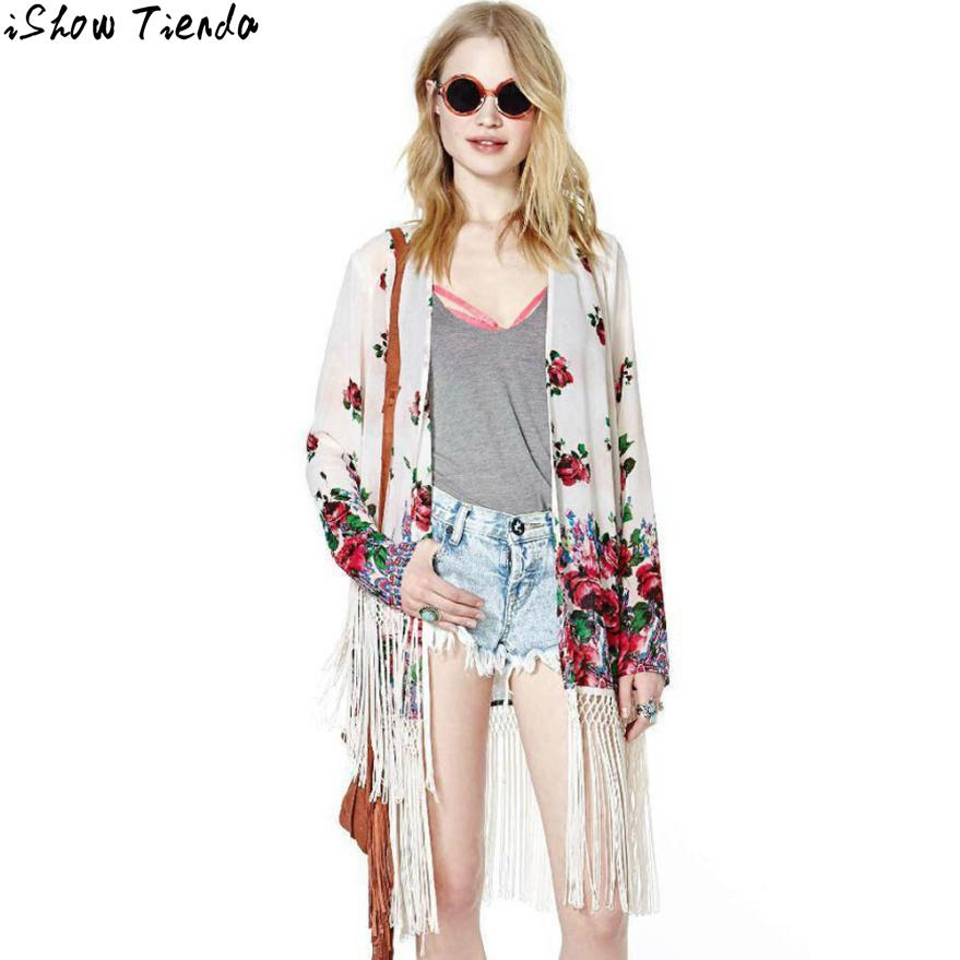 Wholesale Chiffon Kimono Cardigan Floral Printing Tassel Sleeve ...
