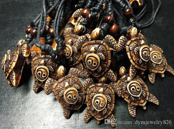 LIVRAISON GRATUITE Chaude En Gros Nouveau Vintage Tai Chi Yin Yang En Bois Perles Collier Corde Chaîne De Mode Bijoux Pour Hommes / Femmes