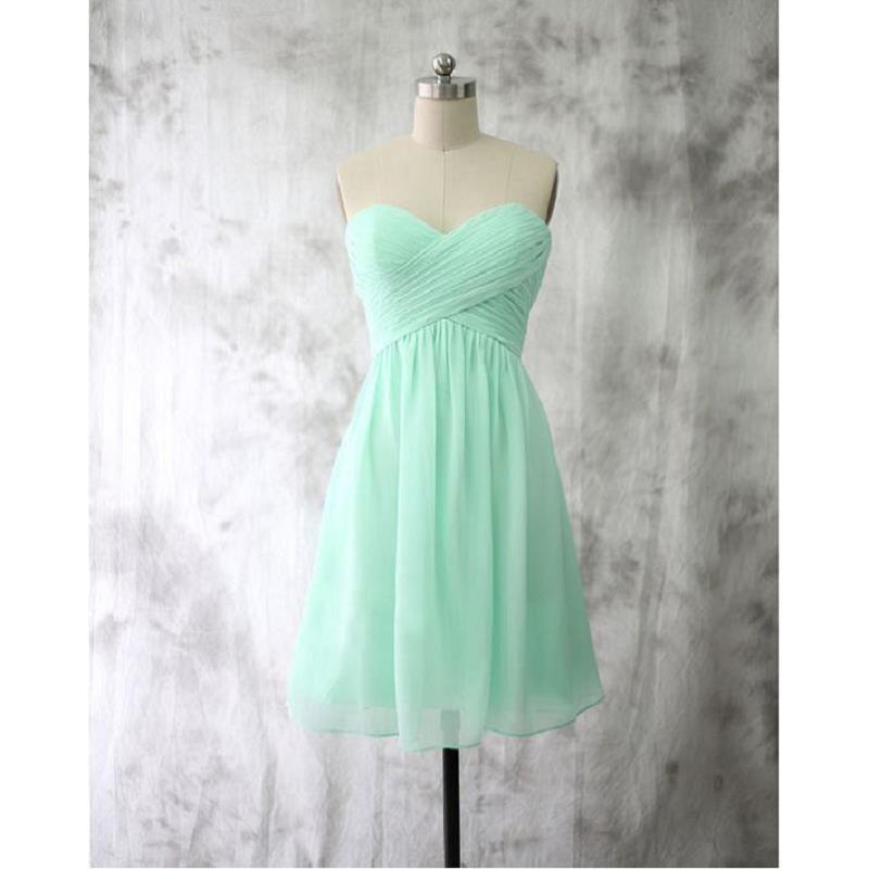 da8d799ce781 Cheap Mint Green Short Bridesmaid Dresses Pleat Chiffon Sweetheart Custom  Made Weddings Party Dress Formal Gowns 2017 Two Tone Bridesmaid Dresses  Vintage ...