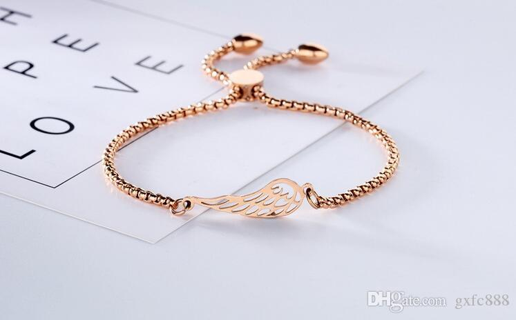 18k rose gold lady jewelry fashion titanium steel angel wings bracelet adjustable length
