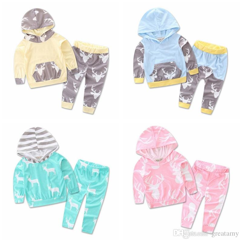 Hot Style Autumn Romper Infant Clothes For Baby deer printing Jumpsuit 2pcs set Toddler Casual hooded clothes suit