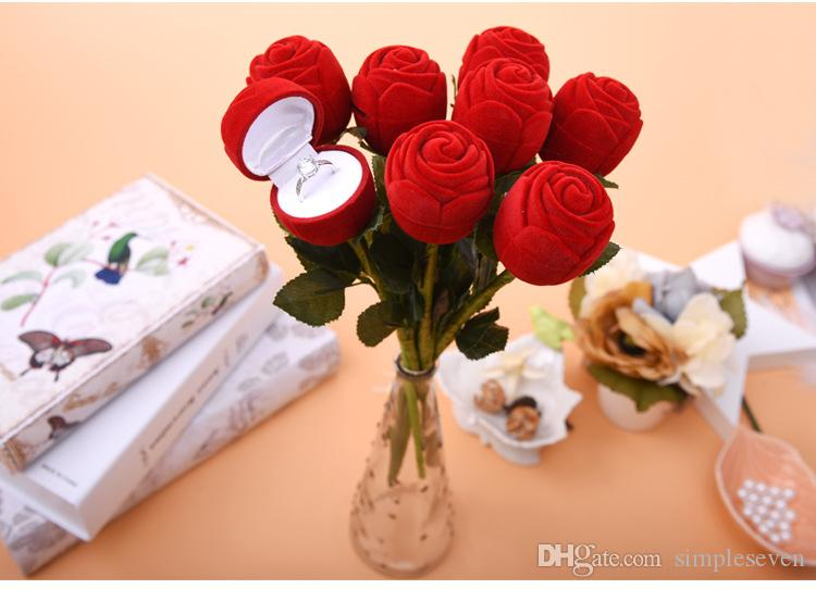 [Simple Seven] Romantic Valentine's Day Rose Ring Box Plastic Flocking Display Jewelry Box Earring Ear Stud Case for Wedding