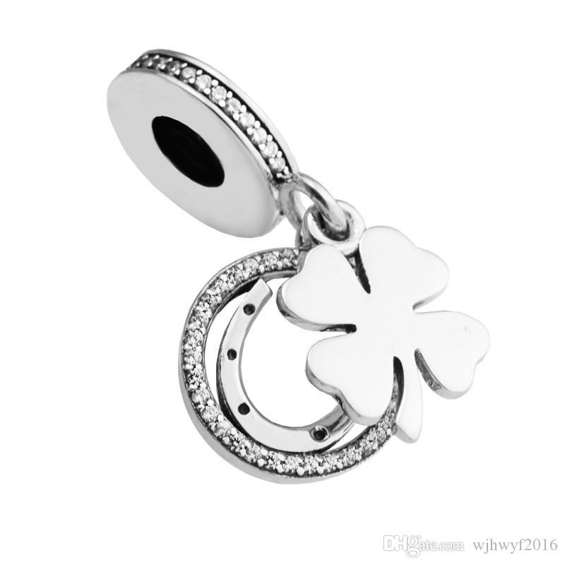 Lucky Day Hanging Flower Charms Pendants Authentic 925 Sterling Silver Clover Beads For Jewelry Making DIY Bracelets Accessories HB758