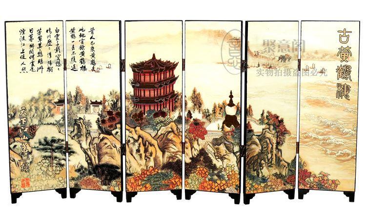 Le caratteristiche decorative di piccolo schermo di legno antico di affari all'estero scambiano i regali Paesaggio di Wuhan di Yellow Crane Tower