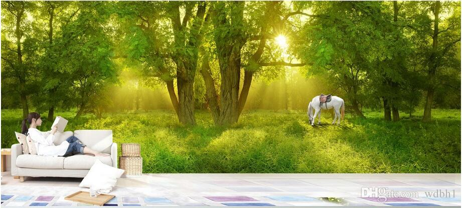 3d wallpaper custom photo Non-woven mural Sunshine forest horse background decor painting picture 3d wall muals wall paper for walls 3 d